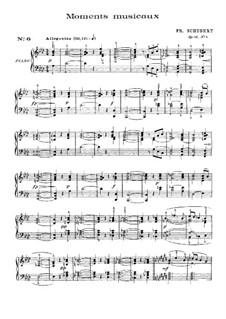 Шесть музыкальных моментов, D.780 Op.94: Музыкальный момент No.6 (с аппликатурой) by Франц Шуберт