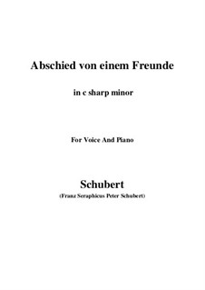 Abschied von einem Freunde (Farewell to a Friend), D.578: C sharp minor by Франц Шуберт