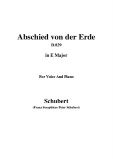 Abschied von der Erde (Farewell to the Earth), D.829: E Major by Франц Шуберт