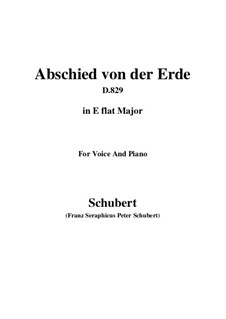 Abschied von der Erde (Farewell to the Earth), D.829: E flat Major by Франц Шуберт