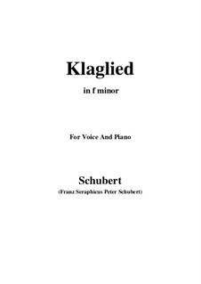 Klaglied (Lament), D.23 Op.131 No.3: F minor by Франц Шуберт