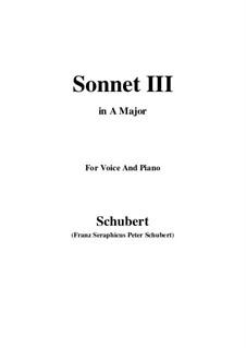 Сонет No.3 до мажор, D.630: Для голоса и фортепиано (A Major) by Франц Шуберт