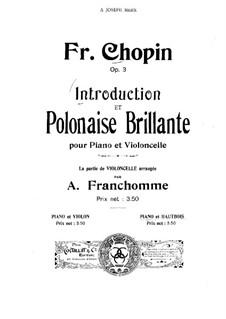 Интродукция и Блестящий полонез до мажор, Op.3: Для гобоя и фортепиано – Партия гобоя by Фредерик Шопен