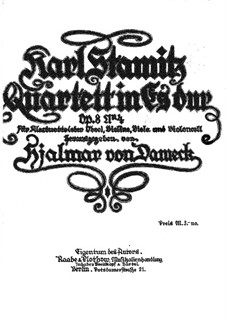 Квартет для кларнета (или гобоя) и струнных No.4, Op.8: Партия скрипки by Карл Стамиц