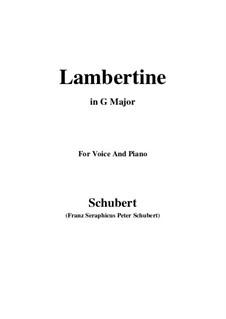 Lambertine, D.301: G Major by Франц Шуберт