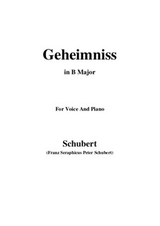Geheimniss, D.491: B Major by Франц Шуберт