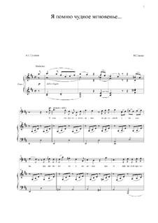 Я помню чудное мгновенье: Для голоса и фортепиано (D Major) by Михаил Глинка