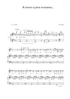Я помню чудное мгновенье: Для голоса и фортепиано (G Major) by Михаил Глинка