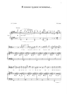 Я помню чудное мгновенье: Для голоса и фортепиано (E Major) by Михаил Глинка