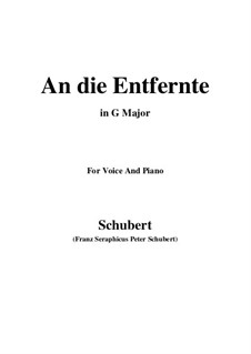 An die Entfernte (To the Distant Beloved), D.765: G Major by Франц Шуберт