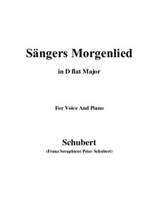 Sängers Morgenlied (The Minstrel's Morning Song), D.165: D flat Major by Франц Шуберт