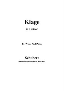 Klage (Sorrow Floods My Life), D.371: C sharp minor by Франц Шуберт