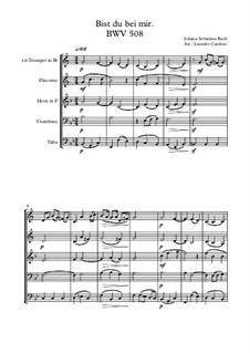 No.25 Bist du bei mir (You Are with Me): Для квинтета медных духовых by Иоганн Себастьян Бах