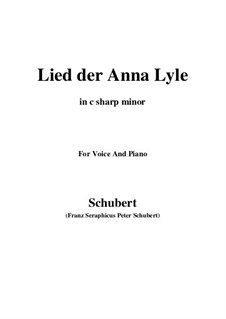 Lied der Anne Lyle (Annot Lyle's Song), D.830 Op.85 No.1: C sharp minor by Франц Шуберт