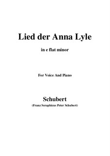 Lied der Anne Lyle (Annot Lyle's Song), D.830 Op.85 No.1: E flat minor by Франц Шуберт