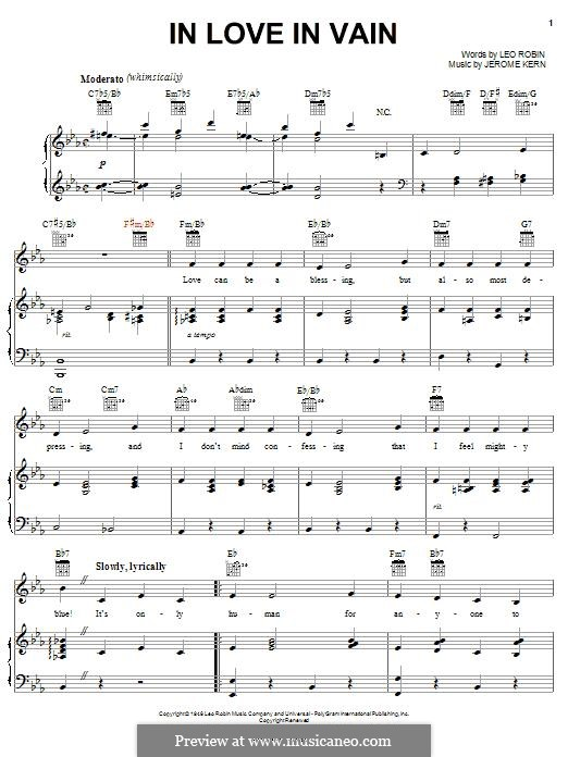 In Love in Vain: Для голоса и фортепиано (или гитары) by Джером Керн