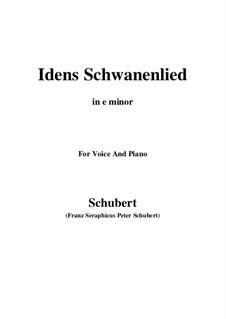 Idens Schwanenlied (Ida's Swan Song), D.317: E minor by Франц Шуберт