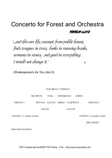 Concerto for Forest and Orchestra, Op.7: Concerto for Forest and Orchestra by Keith Perreur-Lloyd