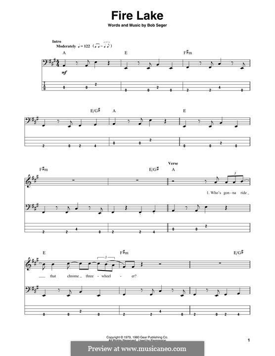 Fire Lake: Для бас-гитары с табулатурой by Bob Seger