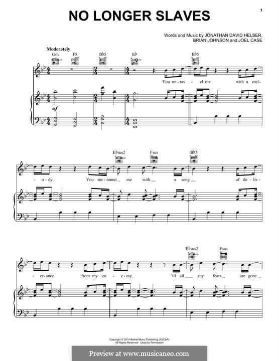 No Longer Slaves (Bethel Music): Для голоса и фортепиано (или гитары) by Brian Johnson, Joel Case, Jonathan David Helser