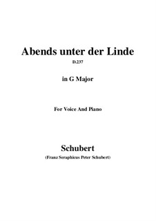 Abends unter der Linde (Evening Beneath the Linden Tree), D.237: G Major by Франц Шуберт