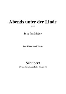 Abends unter der Linde (Evening Beneath the Linden Tree), D.237: A flat Major by Франц Шуберт
