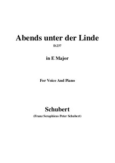Abends unter der Linde (Evening Beneath the Linden Tree), D.237: E Major by Франц Шуберт