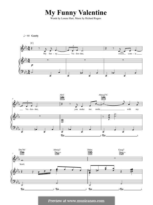 My Funny Valentine: Для голоса и фортепиано (или гитары) by Richard Rodgers