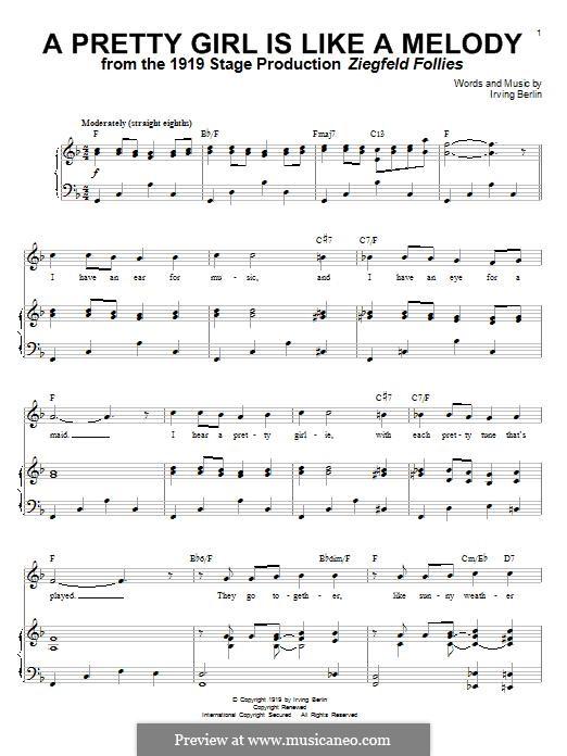 A Pretty Girl is Like a Melody: Для голоса и фортепиано by Ирвинг Берлин
