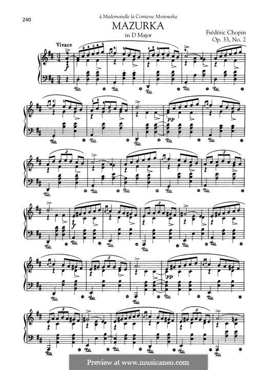 Мазурки, Op.33: No.2 in D Major by Фредерик Шопен