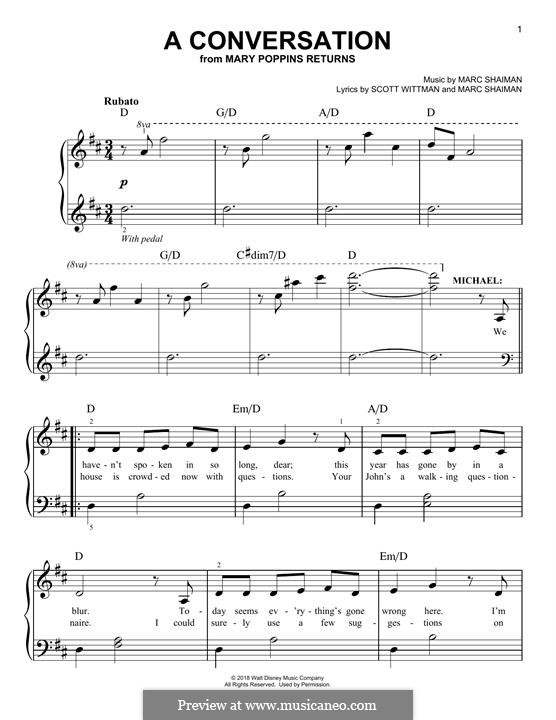 Mary Poppins Returns: A Conversation, for piano by Marc Shaiman
