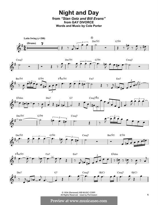 Night and Day (Frank Sinatra): Для альтового саксофона by Кол Портер