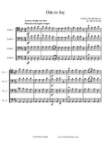 Ода к радости: For intermediate cello quartet (four cellos) by Людвиг ван Бетховен