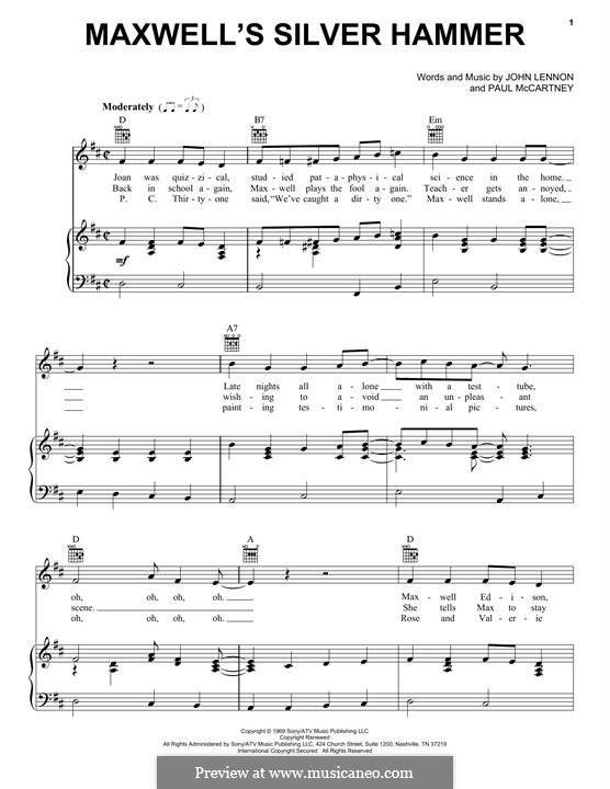 Maxwell's Silver Hammer (The Beatles): Для голоса и фортепиано (или гитары) by John Lennon, Paul McCartney