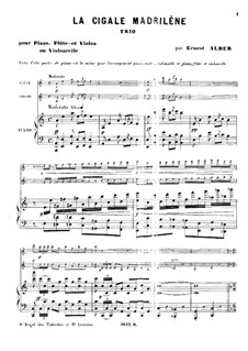 La cigale madriléne for Piano, Flute and Violin (or Cello): Партитура by Richard Ernest Alder