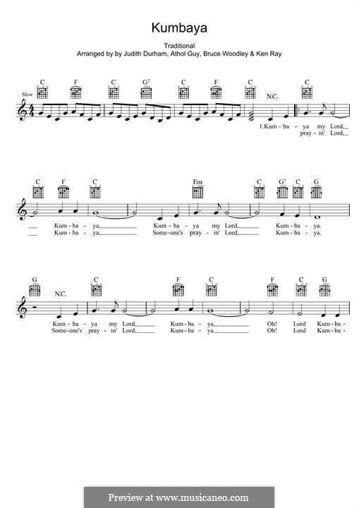 Kumbaya (Kum Ba Yah): Мелодия by folklore