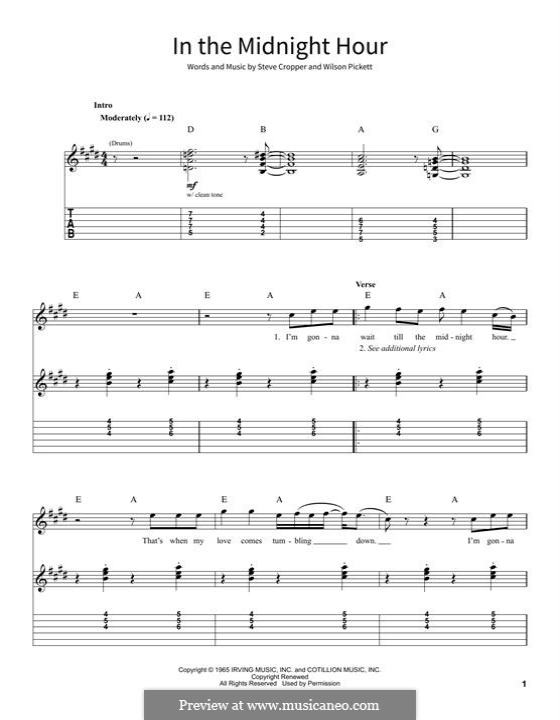 In the Midnight Hour: Гитарная табулатура by Steve Cropper, Wilson Pickett