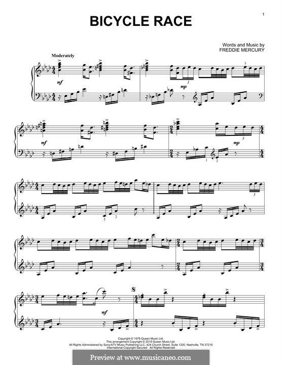 Bicycle Race (Queen): Для фортепиано by Freddie Mercury