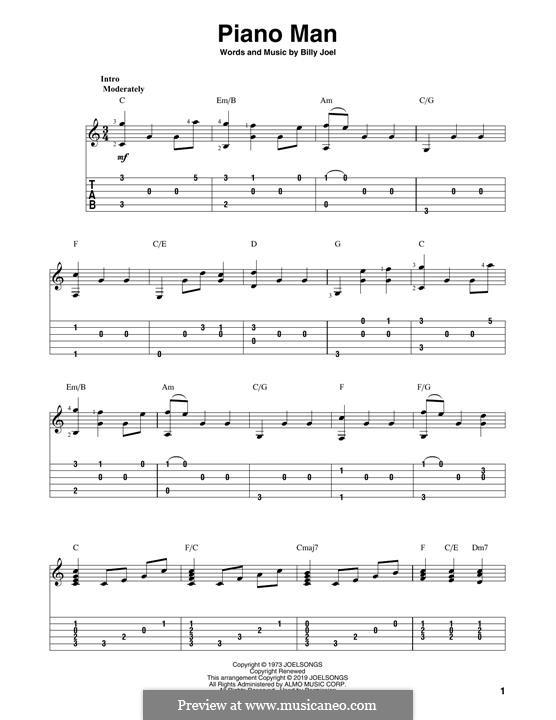 Piano Man: Гитарная табулатура by Billy Joel