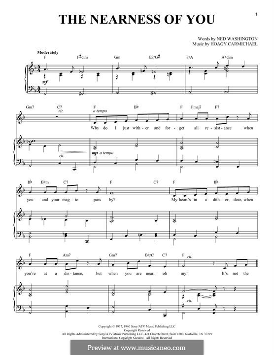 The Nearness of You: Для голоса и фортепиано by Hoagy Carmichael