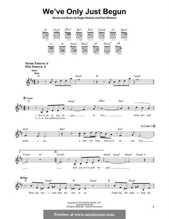 We've Only Just Begun (Carpenters): Для гитары by Paul H. Williams, Roger Nichols