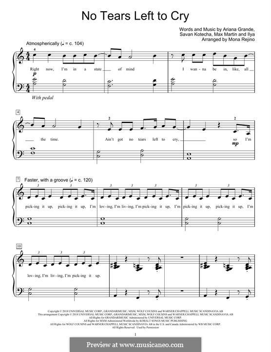 No Tears Left To Cry: Для фортепиано by Max Martin, Savan Kotecha, Ariana Grande, Ilya