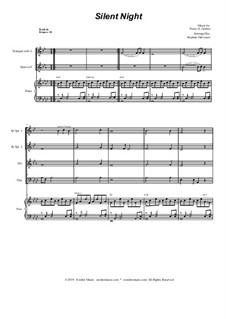 Тихая ночь (ноты для скачивания): For brass quartet and piano by Франц Ксавьер Грубер