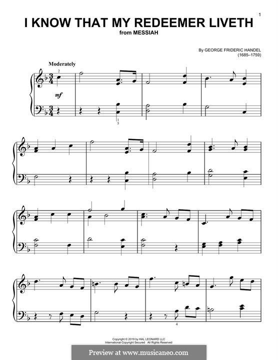 No.45 I Know That My Redeemer Liveth: Для фортепиано by Георг Фридрих Гендель