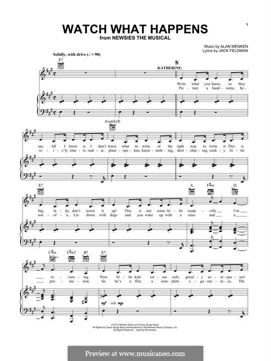 Watch What Happens: Для голоса и фортепиано (или гитары) by Alan Menken