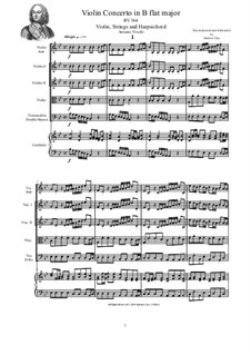 Concerto for Violin, Strings and Cembalo in B flat major, RV 364: Score, parts by Антонио Вивальди
