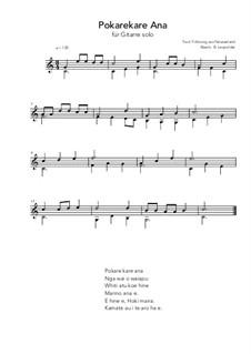 Pokarekare Ana: For guitar by folklore