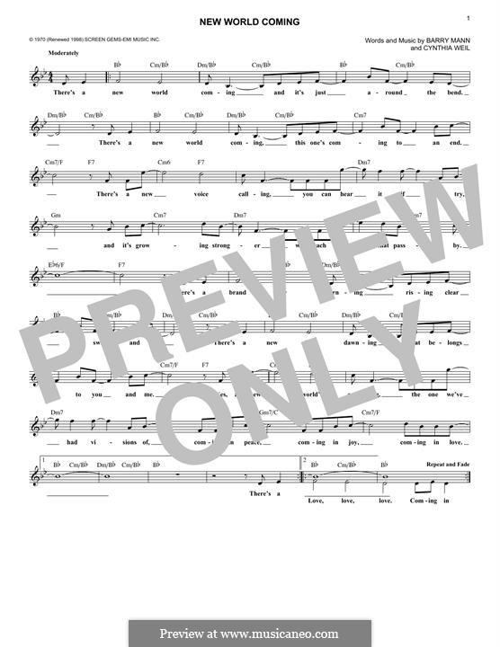New World Coming (Mama Cass Elliot): Мелодия by Barry Mann, Cynthia Weil