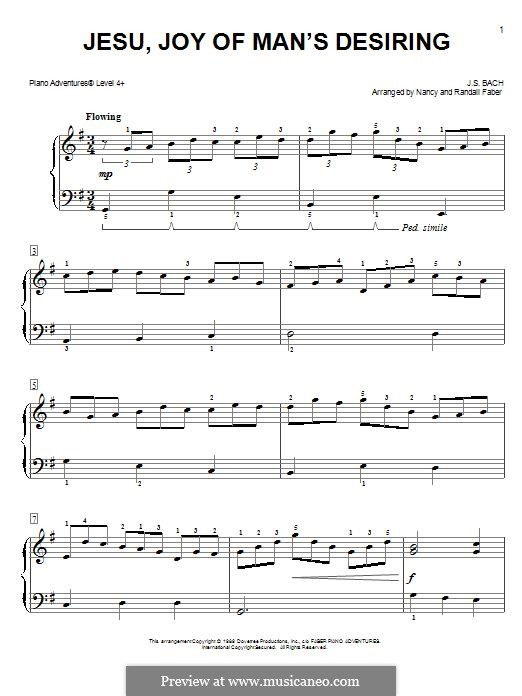 Jesu, Joy of Man's Desiring, for Piano: Easy version by Иоганн Себастьян Бах
