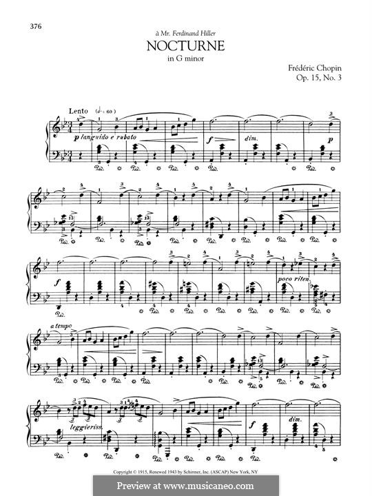 Ноктюрны, Op.15: No.3 in G Minor by Фредерик Шопен